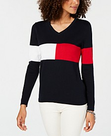 Colorblocked V-Neck Cotton Sweater, Created for Macy's