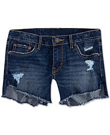 Big Girls Star-Print High-Low Hem Denim Shorts