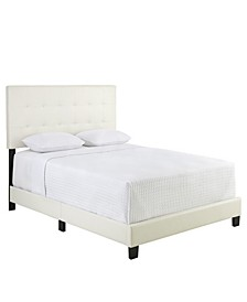 Hudson Full Faux Leather Upholstered Platform Bed Frame with Tufted Headboard
