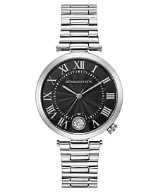 BCBGMAXAZRIA Ladies Black Dial Round Stainless Steel Bracelet with T Bar Attachment Watch, 38mm