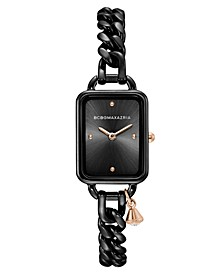 Ladies Rectangle Black Stainless Steel Chain Bracelet with Rose Goldtone Crystal Charm Watch, 15mm x 21mm
