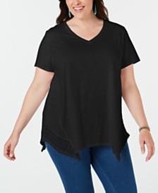 Style & Co Plus Size Crochet Handkerchief-Hem Top, Created for Macy's