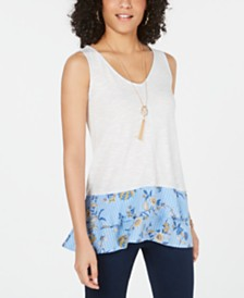 Style & Co Mixed-Media Tiered Ruffle Top, Created for Macy's