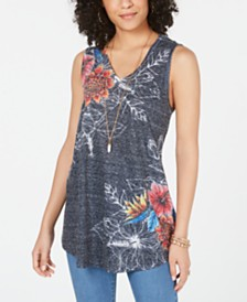 Style & Co Floral-Print V-Neck Swing Top, Created for Macy's