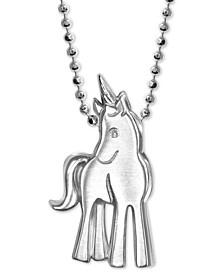 "Diamond Accent Unicorn 16"" Pendant Necklace in Sterling Silver"