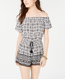 Be Bop Juniors' Striped Off-The-Shoulder Romper