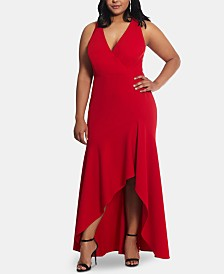 Betsy & Adam Plus Size High-Low Gown