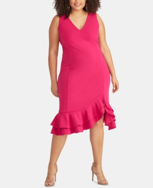 Plus Size Ruffle-Hem Sheath Dress in Hot Pink