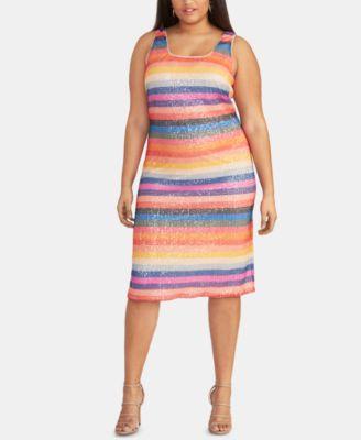 Trendy Plus Size Rainbow-Stripe Sequin Dress