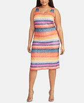 9051aa18b9a RACHEL Rachel Roy Trendy Plus Size Rainbow-Stripe Sequin Dress