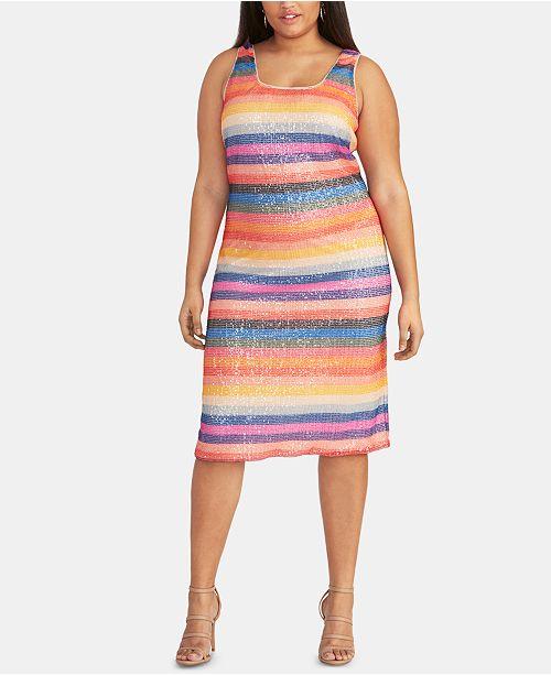RACHEL Rachel Roy Trendy Plus Size Rainbow-Stripe Sequin Dress