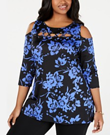 Belldini Plus Size Printed Cold-Shoulder Top