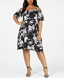 Belldini Plus Size Studded Cold-Shoulder Dress
