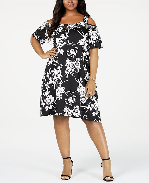 Belldini Plus Size Studded Cold-Shoulder Dress