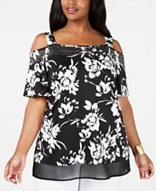 Belldini Plus Size Cold-Shoulder Chiffon-Hem Tunic