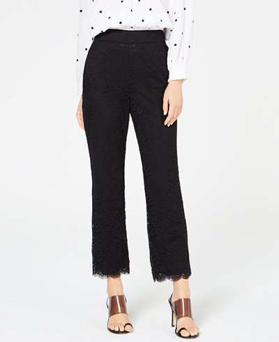 I.N.C. Lace-Hem Pull-On Ankle Pants, Created for Macy's