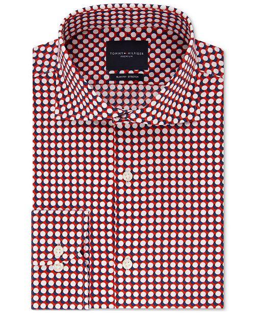 Tommy Hilfiger Men's Slim-Fit Non-Iron THFlex Supima® Stretch Bold Pattern Dress Shirt