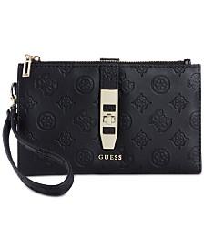 GUESS Peony Debossed Logo Double Zip Wallet