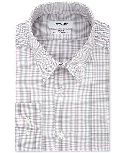 Calvin Klein Calvin Klein Men's STEEL Slim-Fit Non-Iron Performance Stretch Pink Check Dress Shirt
