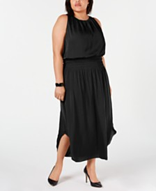 Alfani Plus Size Smocked Satin Midi Dress, Created for Macy's