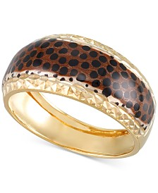 Leopard Print Statement Ring in 18k Gold-Plated Sterling Silver