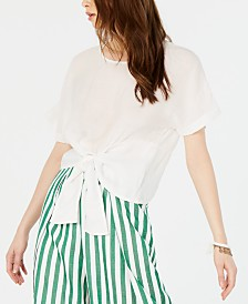 Lucy Paris Rowan Crew-Neck Tie-Front Top