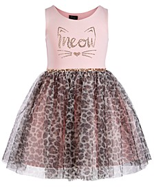 Little Girls Meow Leopard-Print Dress