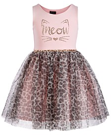Pink & Violet Little Girls Meow Leopard-Print Dress