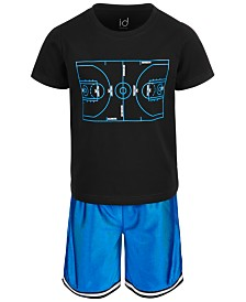 Ideology Little Boys 2-Pc. Basketball Graphic T-Shirt & Shorts Set