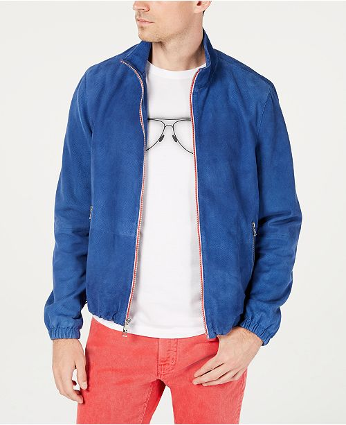 Michael Kors Men's Perforated Suede Track Jacket, Created for Macy's