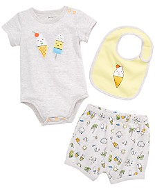 First Impressions Baby Boys or Girls Ice Cream Graphic Bodysuit, Shorts & Bib Separates, Created for Macy's