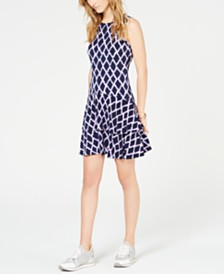 MICHAEL Michael Kors Diamond-Print Sleeveless Flounce Dress