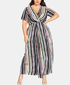 Plus Size Jungle-Stripe Maxi Dress
