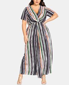 City Chic Plus Size Jungle-Stripe Maxi Dress