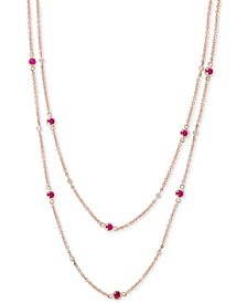 EFFY® Certified Ruby (2-1/4 ct. t.w) & Diamond (1/6 ct. t.w.) Station Necklace in 14k Rose Gold