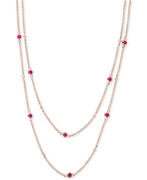 EFFY Collection EFFY® Certified Ruby (2-1/4 ct. t.w) & Diamond (1/6 ct. t.w.) Station Necklace in 14k Rose Gold