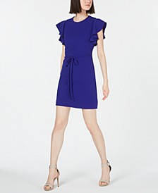 Petite Belted Ruffle Sleeve Dress