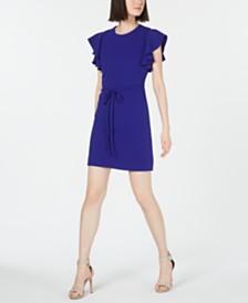 Calvin Klein Petite Belted Ruffle Sleeve Dress