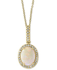"EFFY® Opal (7/8 ct. t.w.) & Diamond (1/8 ct. t.w.) 18"" Pendant Necklace in 14k Gold"