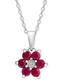 """Ruby (9/10 ct. t.w.) & Diamond Accent Flower 18"""" Pendant Necklace in Sterling Silver"""