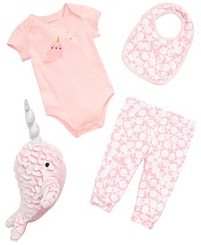 First Impressions Baby Girls Narwhal Graphic Bodysuit, Bib, Pants & Plush Doll Separates, Created for Macy's