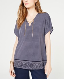 MICHAEL Michael Kors Printed Lace-Up-Neck Tunic