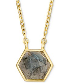 """Labradorite Hexagon 18"""" Pendant Necklace in 18k Gold-Plated Sterling Silver"""