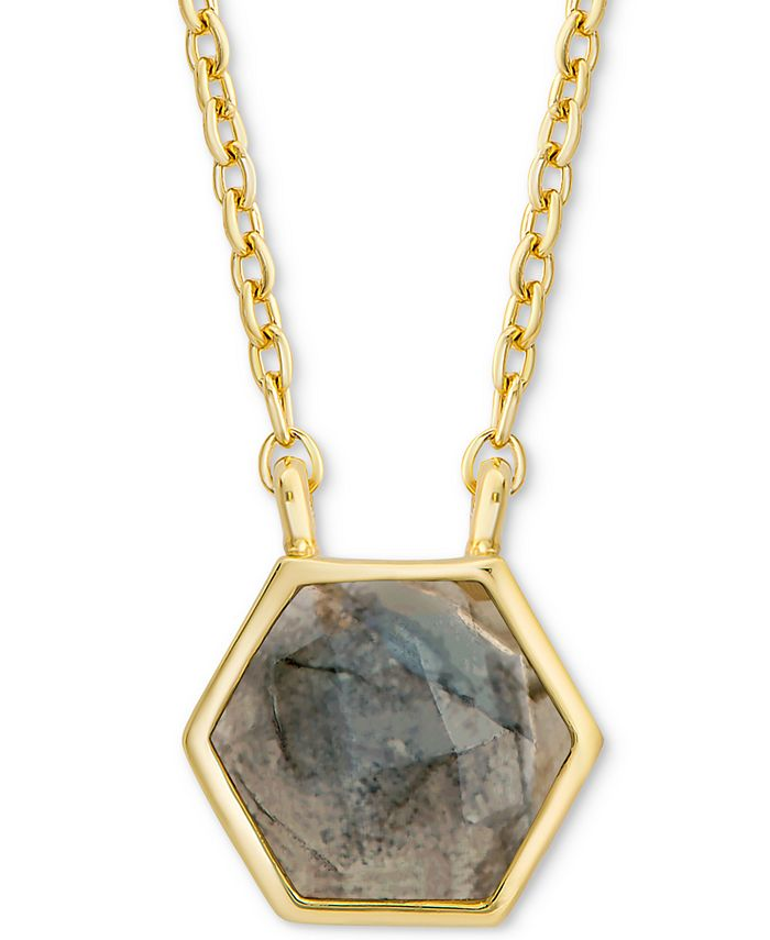"""Macy's - Labradorite Hexagon 18"""" Pendant Necklace in 18k Gold-Plated Sterling Silver"""