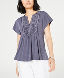 MICHAEL Michael Kors Printed Flutter-Sleeve Top, In Regular and Petite
