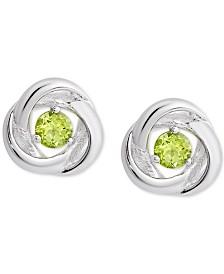 Peridot Love Knot Stud Earrings (1/2 ct. t.w.) in Sterling Silver