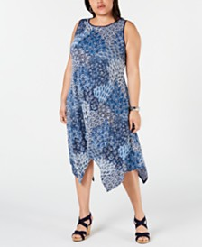 MSK Plus Size Printed Handkerchief-Hem Dress