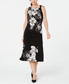 Kasper Floral-Print A-Line Dress