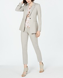 Calvin Klein Notched-Lapel Single-Button Blazer, Pleated-Neck Printed Top & Cropped Pants