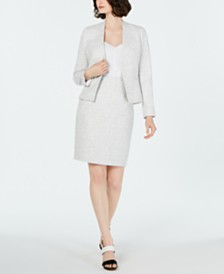 Calvin Klein Asymmetrical Jacket, Button-Front Blouse & Pencil Skirt